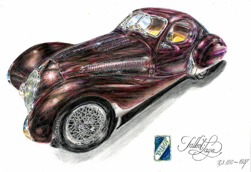 Exposición de dibujos y pinturas de autos clásicos en el Consejo Profesional de Ciencias Económicas de San Isidro.