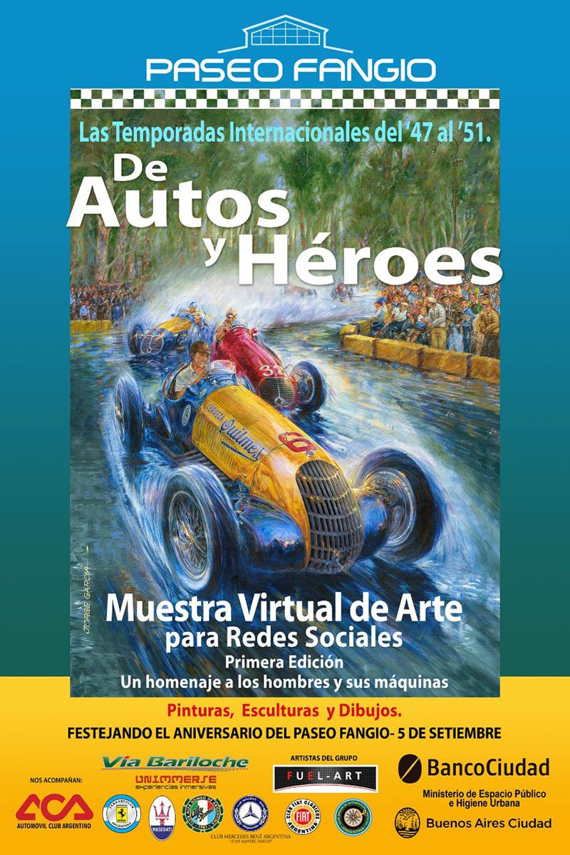 """Muestra virtual de arte """"De Autos y Héroes"""" en el Paseo Fangio."""